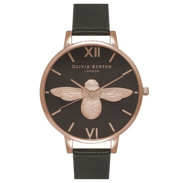 Olivia Burton Moulded Bee Black & Rose Gold Watch  - Click to view larger image