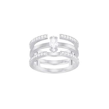 Swarovski Gray Silver Ring  - Click to view larger image