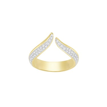 Swarovski Gold Groove Ring  - Click to view larger image