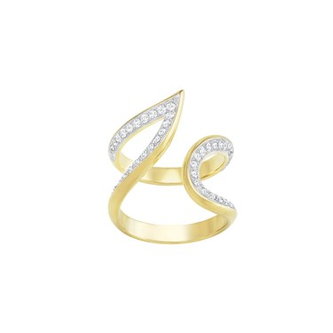 Swarovski Gold Groove Statement Ring  - Click to view larger image