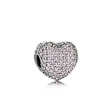 Pandora Pink Pavé Open My Heart Charm  - Click to view larger image