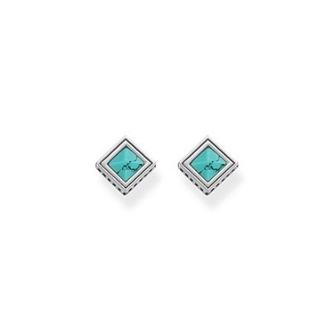 Thomas Sabo Turquoise Square Stud Earrings  - Click to view larger image