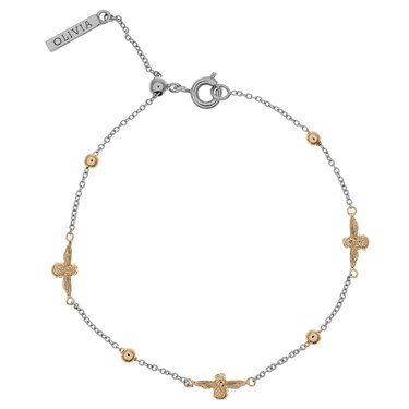 Olivia Burton Silver Gold Bee Bracelet Click To View Larger Image