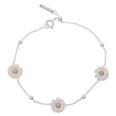 Olivia Burton Silver & Rose Gold Daisy Chain Bracelet  - Click to view larger image