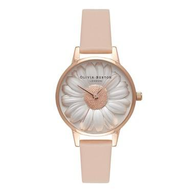 Olivia Burton Moulded Daisy Nude Peach Watch   - Click to view larger image