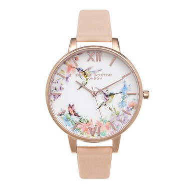 Olivia Burton Painterly Patterns Nude Watch  - Click to view larger image