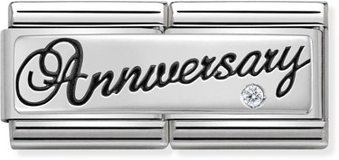 Nomination Silver Anniversary Double Plate Charm  - Click to view larger image