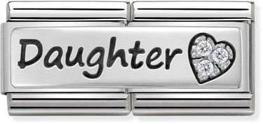 Nomination Silver Daughter Double Plate Charm  - Click to view larger image