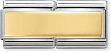 Nomination Gold Engravable Double Plate Charm  - Click to view larger image