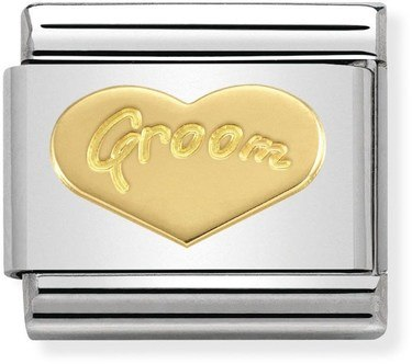 Nomination Groom Heart Charm  - Click to view larger image
