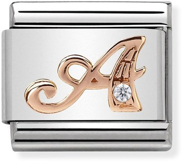 Nomination Rose Gold Letter A Charm  - Click to view larger image