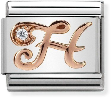 Nomination Rose Gold Letter H Charm  - Click to view larger image