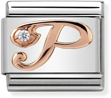 Nomination Rose Gold Letter P Charm  - Click to view larger image