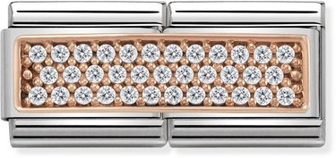 Nomination Rose Gold Double Pave Charm  - Click to view larger image