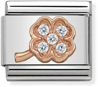 Nomination Rose Gold Pave Clover Charm  - Click to view larger image