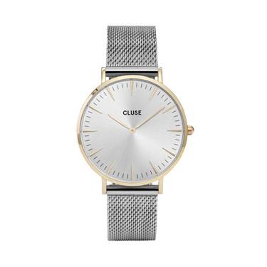 CLUSE La Bohème Silver & Gold Mesh Watch  - Click to view larger image