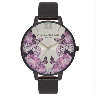 Olivia Burton After Dark Floral Matte Black Watch  - Click to view larger image