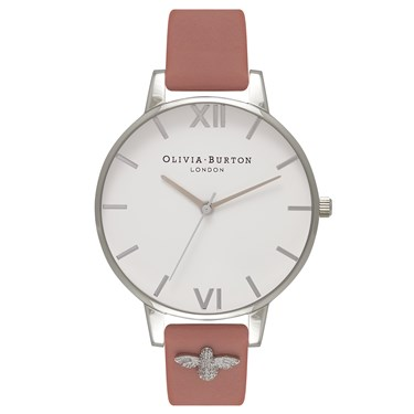 Olivia Burton 3D Bee Embellished Strap Rose Watch  - Click to view larger image