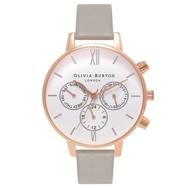 Olivia Burton Chrono Detail Grey & Rose Gold Watch  - Click to view larger image
