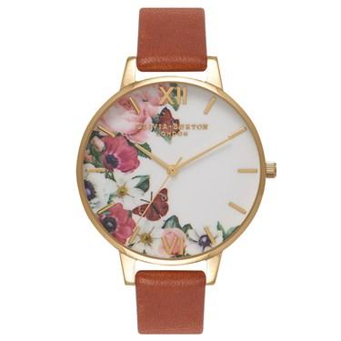 Olivia Burton English Garden Tan & Gold Watch  - Click to view larger image