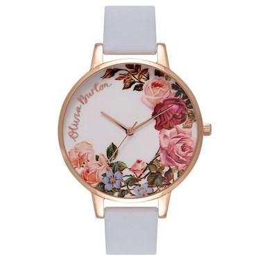 Olivia Burton English Garden Chalk Blue & Rose Gold Watch  - Click to view larger image