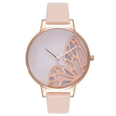 Olivia Burton Embroidered Butterfly Nude Peach Watch   - Click to view larger image