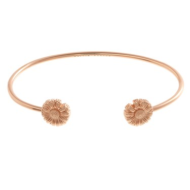 Olivia Burton Daisy Open Ended Rose Gold Bangle  - Click to view larger image