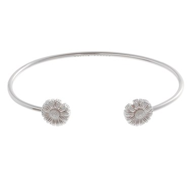 Olivia Burton Daisy Open Ended Silver Bangle  - Click to view larger image