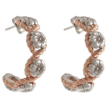 Olivia Burton Floral Charm Rope Hoop Silver & Rose Gold Earrings  - Click to view larger image