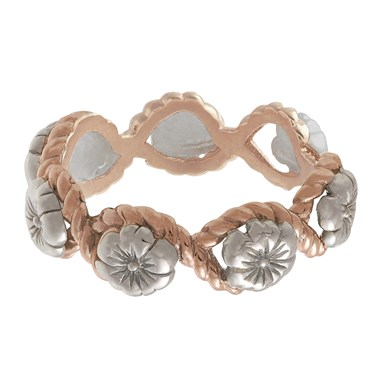 Olivia Burton Floral Charm Rope Silver & Rose Gold Ring  - Click to view larger image
