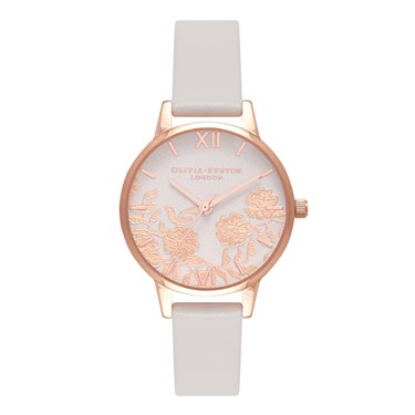 Olivia Burton Midi Lace Detail Blush & Rose Gold Watch  - Click to view larger image