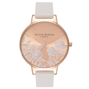 Olivia Burton Lace Detail Blush & Rose Gold Watch  - Click to view larger image
