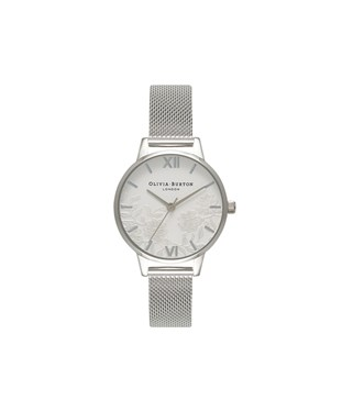 Olivia Burton Lace Detail Silver Mesh Watch  - Click to view larger image