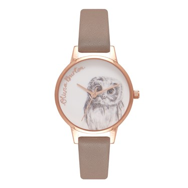Olivia Burton Owl Motif Iced Coffee & Rose Gold Watch  - Click to view larger image