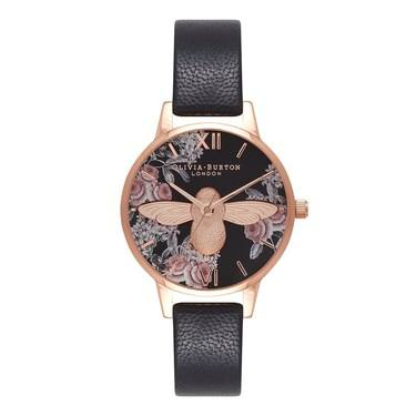 Olivia Burton Botanical 3D Bee Black & Rose Gold Watch  - Click to view larger image