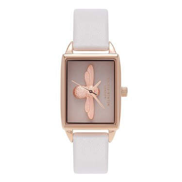Olivia Burton 3D Bee Blush & Rose Gold Rectangular Watch  - Click to view larger image