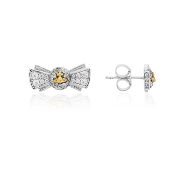 Vivienne Westwood Pamela Silver & Gold Bow Earrings  - Click to view larger image