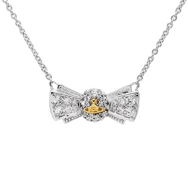 Vivienne Westwood Pamela Silver & Gold Bow Pendant  - Click to view larger image