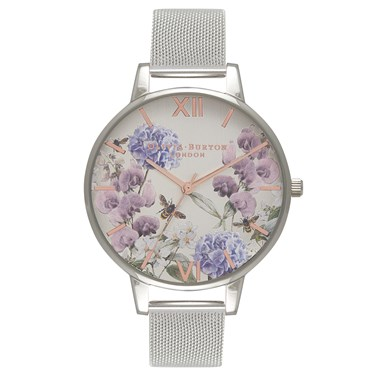 Olivia Burton Parlour Bee Blooms Silver Mesh Watch  - Click to view larger image