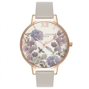 Olivia Burton Parlour Bee Blooms Grey & Rose Gold Watch  - Click to view larger image