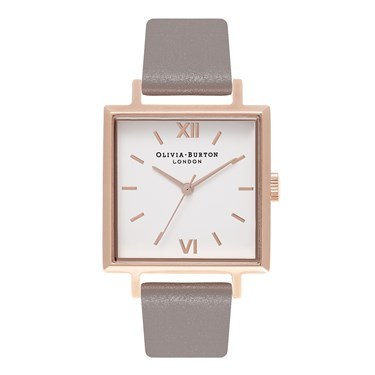 Olivia Burton Big Square London Grey & Rose Gold Watch  - Click to view larger image