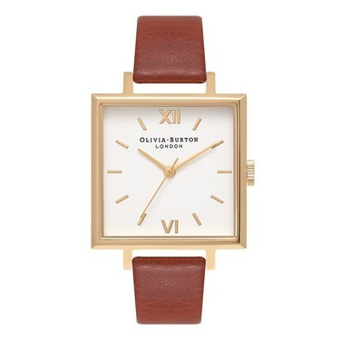 Olivia Burton Big Square Dial Tan & Gold Watch  - Click to view larger image