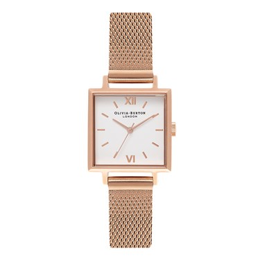 Olivia Burton Midi Square Dial Rose Gold Mesh Watch  - Click to view larger image