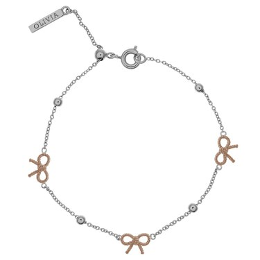 Olivia Burton Bow & Ball Silver & Rose Gold Bracelet  - Click to view larger image