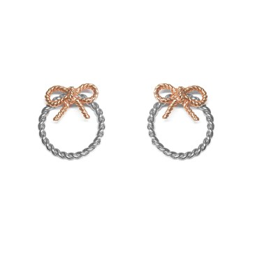 Olivia Burton Silver & Rose Gold Bow Hoop Earrings  - Click to view larger image