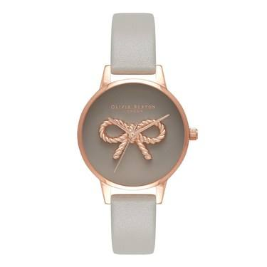 Olivia Burton 3D Vintage Bow Grey & Rose Gold Watch  - Click to view larger image