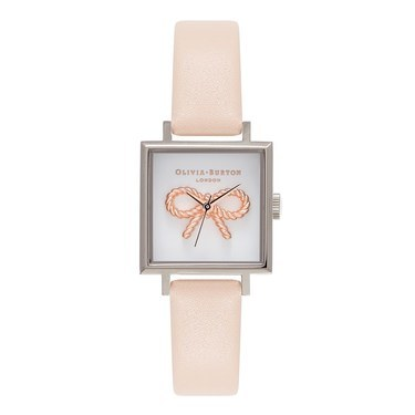 Olivia Burton Vintage Bow Square Dial Peach Watch  - Click to view larger image