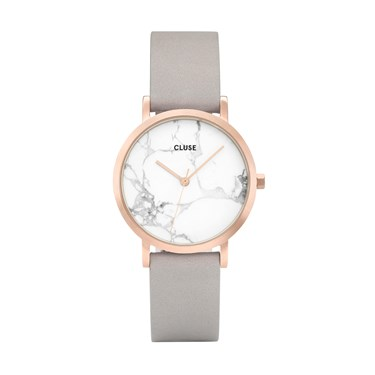 CLUSE La Roche Petite Rose Gold White Marble & Grey Watch  - Click to view larger image