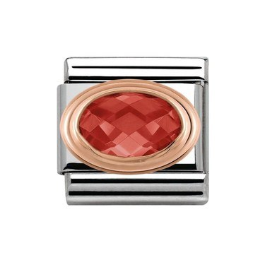 Nomination Rose Gold Faceted Red Crystal Charm  - Click to view larger image