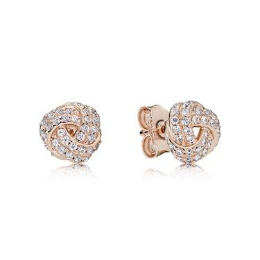 Pandora Sparkling Rose Love Knot Stud Earrings  - Click to view larger image